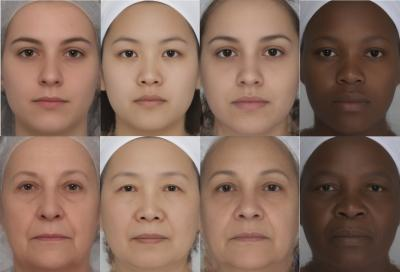 Facial contrast decreases with age in women around the world. This example includes French Caucasian, Chinese Asian, Latin American and South-African women. Younger women are in the top row - (Aurelie Porcheron)