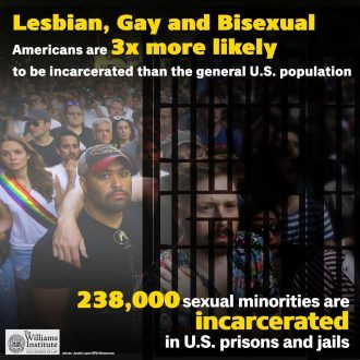 Lesbian, Gay, and Bisexual Americans 3 Times more likely to be incarcerated than the general U.S. population - 238,000 sexual minorities are incarcerated in U.S. prisons and jails.