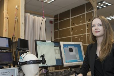 University of Cincinnati researcher Mary Jeam Amon is photographed in the motion capture room of UC's Center for Cognition, Action and Perception. Photo Credit: Lisa Ventre/University of Cincinnati