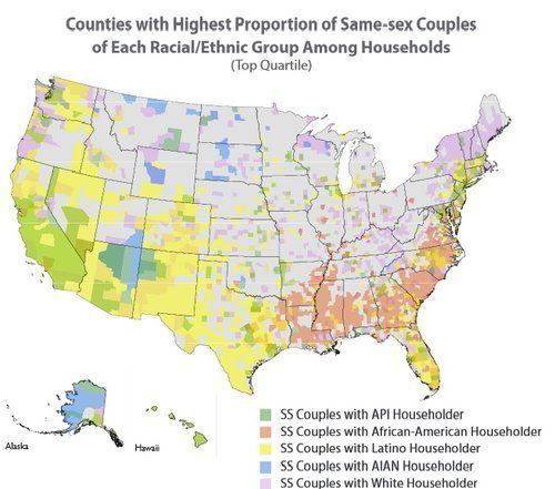 U.S. counties with highest proportion of same-sex couples