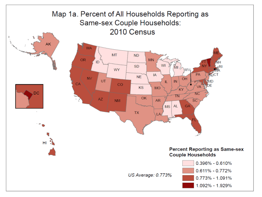 Percent of all U.S. households reporting as same-sex couple households: 2010 Census - Image Credit: www.census.gov